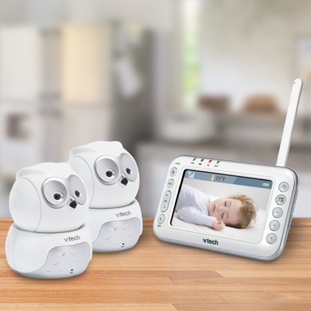 Vtech Vm344 2 Expandable Digital Video Baby Monitor With 2 Pan   Tilt Cameras And Automatic Night Vision
