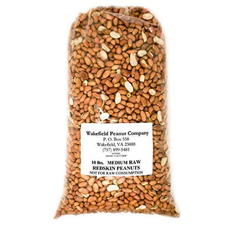 Virginia Peanuts Raw Redskin Peanuts, Premium Grade / 10 lbs Bulk / Shelled /For Cooking Peanut Brittle, Peanut Candy, Peanut Butter Cookies, Peanut Butter,Roasted Peanut, Trail Mix, Granola & more Peanut Shell Wrap