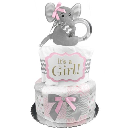 Elephant Diaper Cake for a Girl - Pink and Gray Baby Shower Centerpiece - 32 stage 1 Pampers Swaddlers Diapers