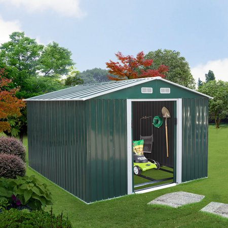 Jaxpety 9' x 10.5' Large Outdoor Steel Storage Shed with Gable Roof, 4 Vents, a Double Sliding Door, Stable Base, Sturdy, Green