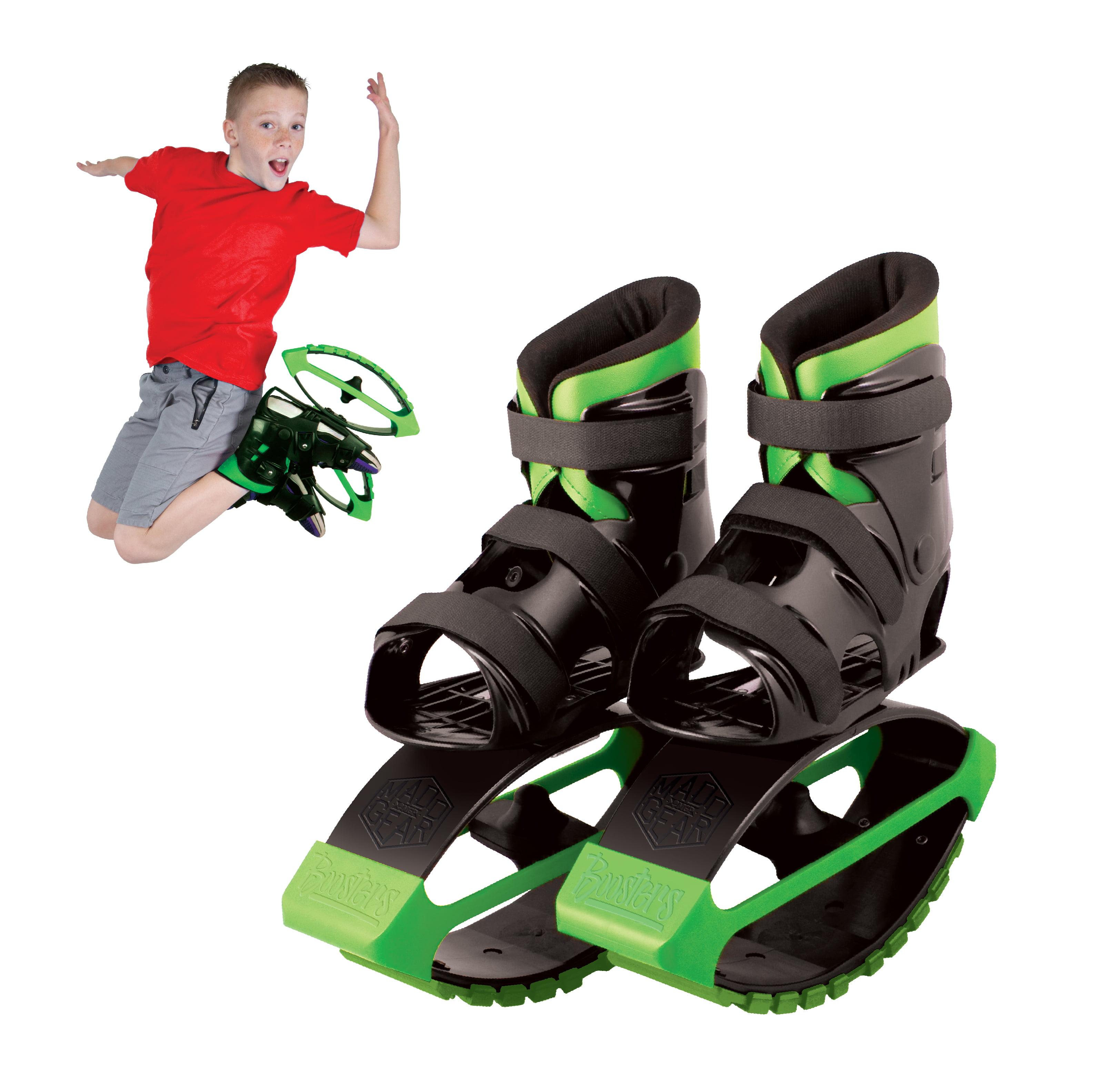 MADD GEAR – BOOST BOOTS – Kids Jumping Shoes – Black Green – Suites Boys & Girls Ages 5+ Max User Weight 88lbs – 3 Year Manufacturer's Warranty