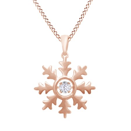 14K Rose Gold Over Sterling Silver Snowflake Pendant Necklace With Round White Natural Diamond Accent