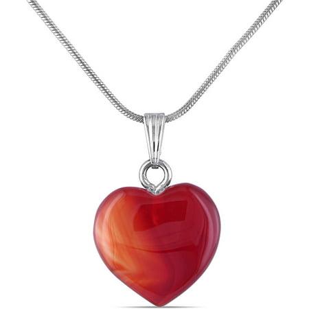 16-1/2 Carat T.G.W. Carnelian Brass Heart Pendant, (Carnelian Pendant)