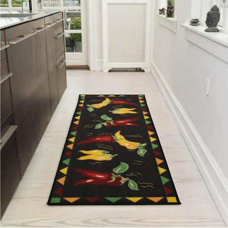 Ottomanson Siesta Collection Kitchen Hot Peppers Design Non-Slip Runner Rug, Black, 20