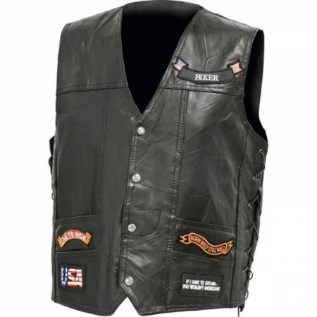 Diamond Plate Italian Stone Design Genuine Buffalo Leather Led Vest- M