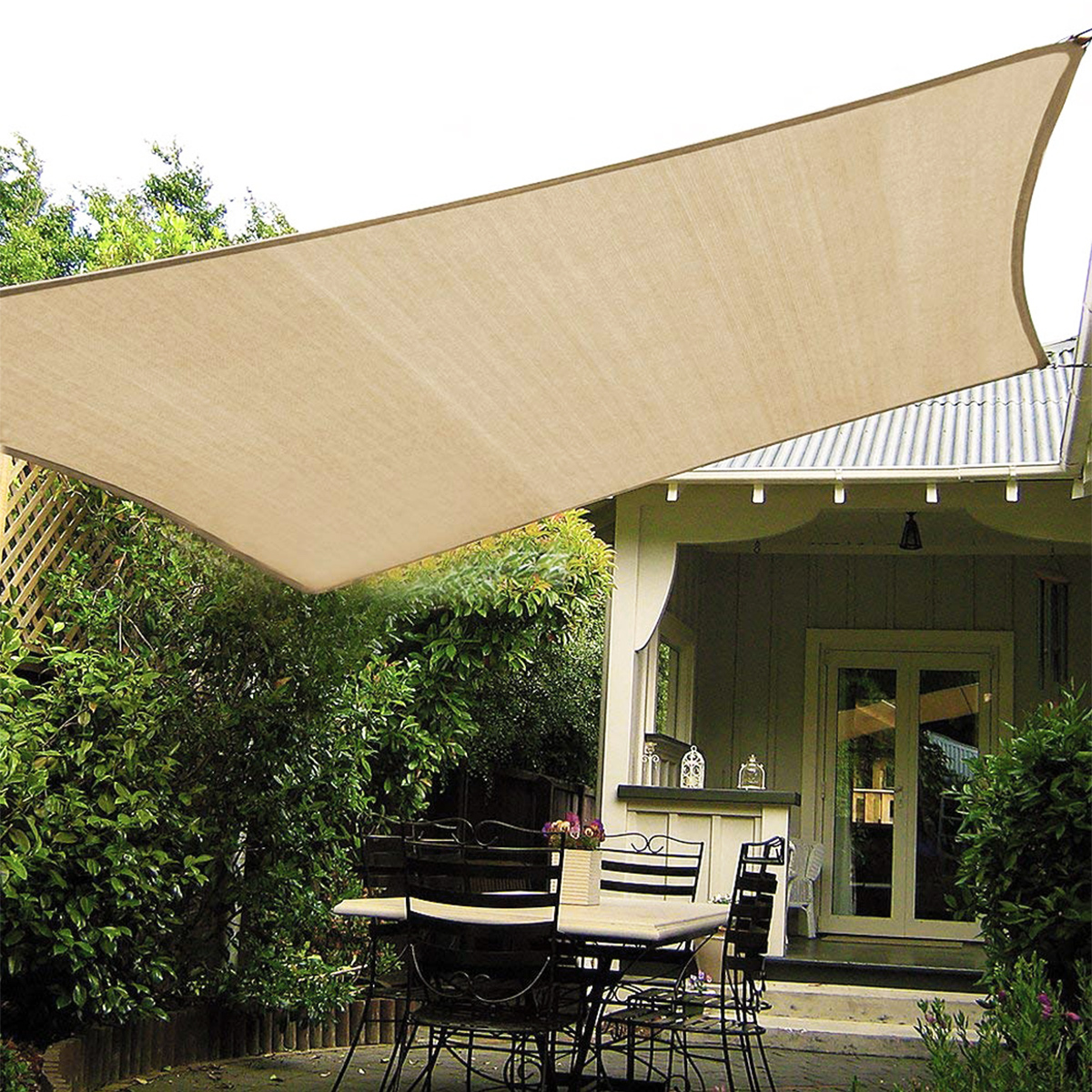 6 5 10ft Rectangle Waterproof Shade Sail Uv Block Fabric Canopy For Outdoor Patio Garden Swimming Pool Sun Shade Sail Patio Furniture Accessories Patio Lawn Garden