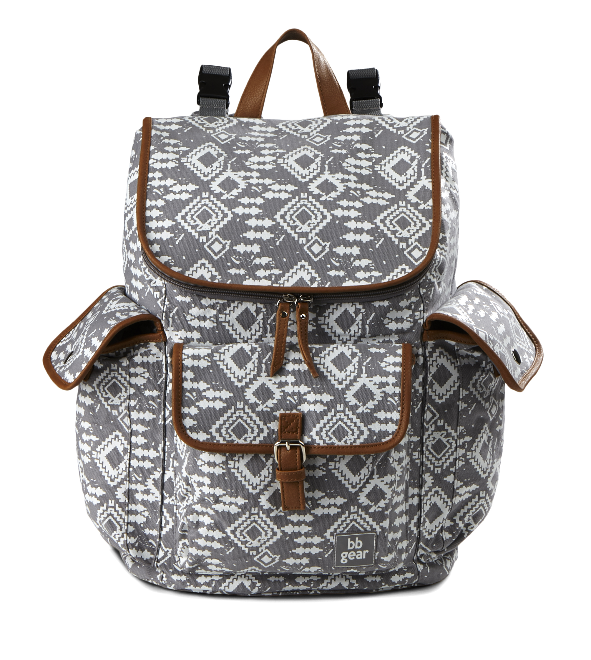 Baby Boom BB Gear Aztec Print Backpack Diaper Bag - Grey/White