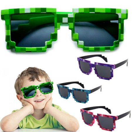 Kids Children 8-Bit Pixel Sunglasses Pixelated Glasses Boys Block Girls Party, Pink - Pixelated Sunglasses
