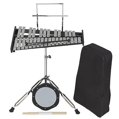 30 Notes Percussion Glockenspiel Bell Kit W  Practice Pad +Mallets+Sticks+Stand by