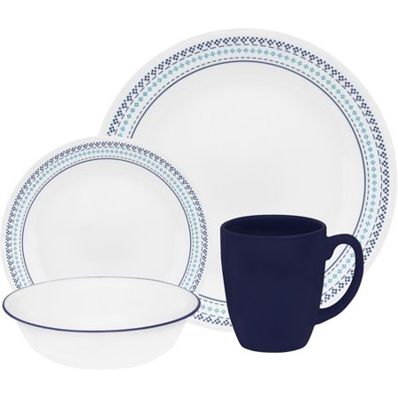 Corelle Livingware Folk Stitch 16 Piece Dinnerware Set