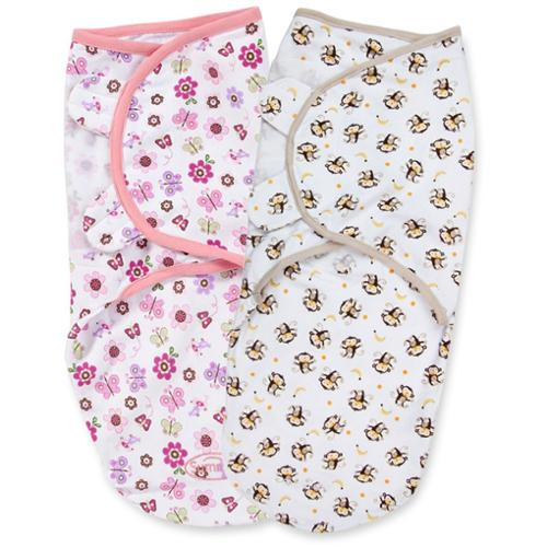 Summer Infant SwaddleMe 2-Pack, Flutter Monkey (Small/Medium)
