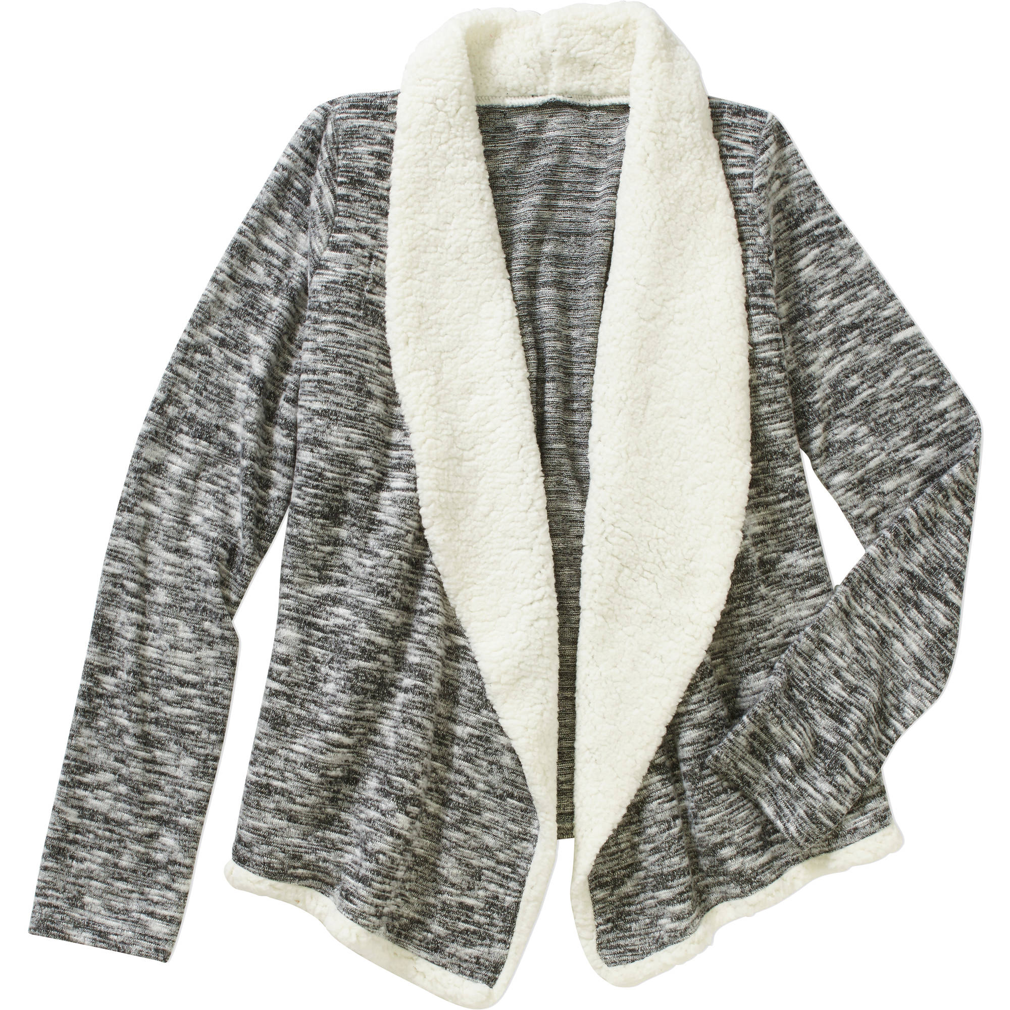 Girls' Open Front Cardigan Sweater with Sherpa Lining