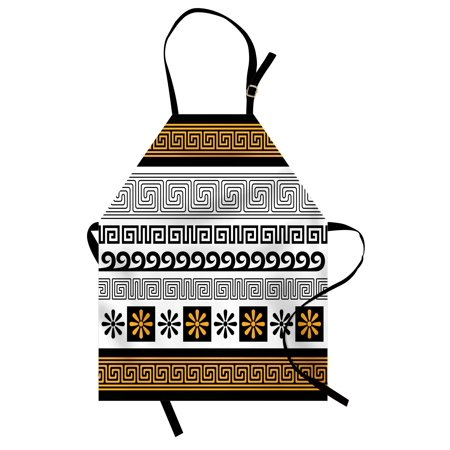 Greek Key Apron Set of Traditional Ornaments from Greece Historical and Cultural Theme, Unisex Kitchen Bib Apron with Adjustable Neck for Cooking Baking Gardening, Marigold Black White, by