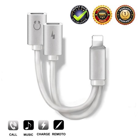 2-in-1 Lightning Splitter Adapter for iPhone XS/ XS Max/XR/X/8/8 Plus/7/7 Plus. Compatible IOS 10 or Later, Double lightning ports for dual Lightning Headphone Audio & Charge