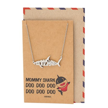 Quan Jewelry Mommy Shark Necklace, Family Necklace, Best Jewelry Gifts For Family with Funny Quotes Greeting
