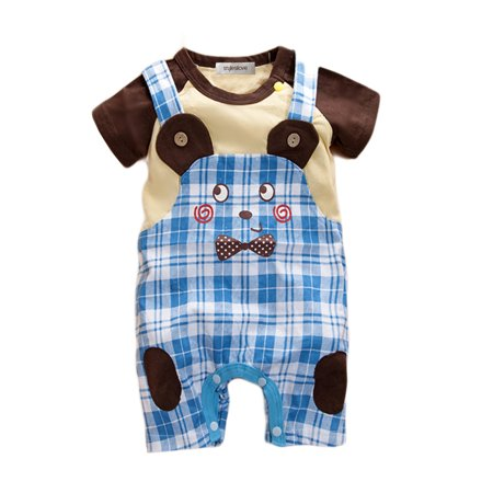 StylesILove Baby Boy Faux Overalls Lovely Bear Jumpsuit Onesie (6-12 Months, -