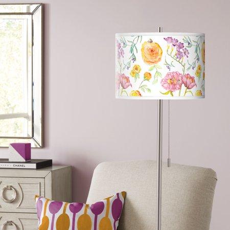 Giclee Glow Spring Garden Brushed Nickel Pull Chain Floor Lamp