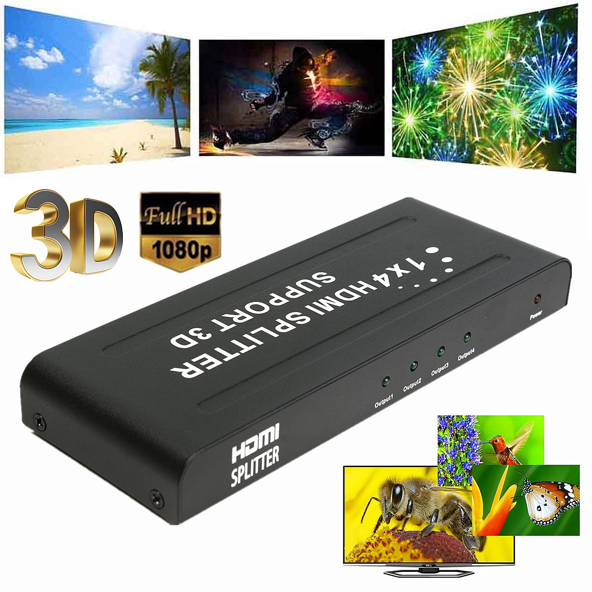 New 1 in 4 out Full HD 1080P 3D Splitter 5 Port Hub Repeater Amplifier with US-plug Power Adapter