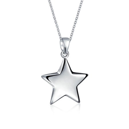 Star Pendent (Engravable Patriotic Star Dangling Lucky Rock Star Pendant Necklace For Women For Teen 925 Sterling Silver )
