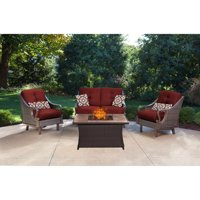 Hanover Ventura 4-Piece Fire Pit Lounge Set with Faux-Stone Tile Top