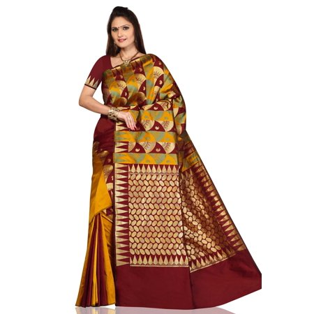 Pumpkin Gold with Maroon Art Silk Sari Saree bellydance wrap
