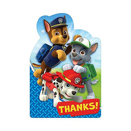 Paw Patrol Postcard Thank You Notes (8) - Paw Patrol Thank You Cards