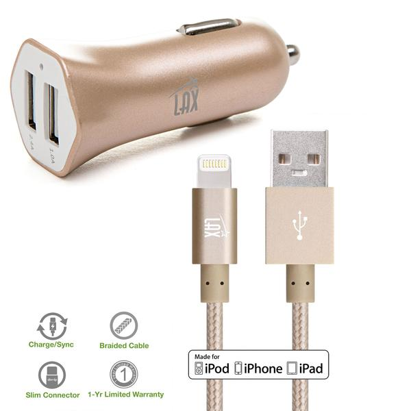 Apple MFi Certified Lightning Cable with 2 USB High Speed Car Charger for iPhone 7, 7 Plus, 6s, 6s Plus, 6, 6 Plus, SE, 5s, 5c, 5, iPad, Mini