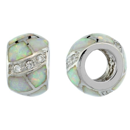 5bc8d07b9 WorldJewels - Sterling Silver Synthetic White Opal Bead Charm CZ stones  Fits Pandora and all Charm Bracelets, 3/8 inch - Walmart.com