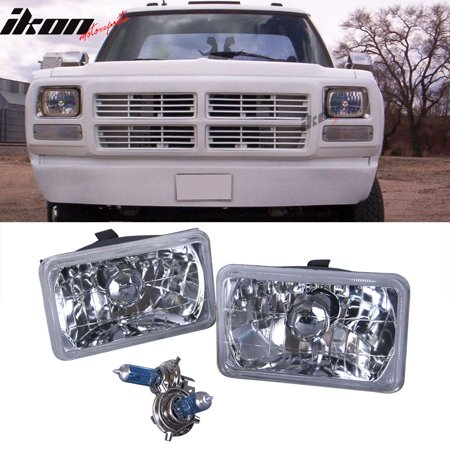 Lincoln Town Car Parking Light (Fits 83-89 Lincoln Town Car 4x6 Inch H4 Sealed Beam Diamond Headlights Crystal )