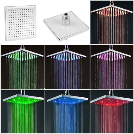 8 Inch Square Rainfall Shower 7 Colors Led Changing Bathroom Over Head Spray
