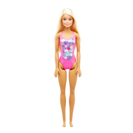 Barbie Beach Doll with Pink Graphic One-Piece Swimsuit