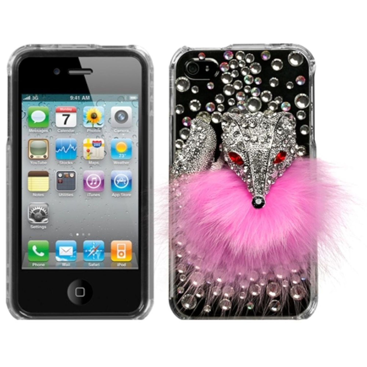 iPhone 4S Case, by Insten Fox Hard 3D Crystal Cover Case For iPhone 4S 4 case cover