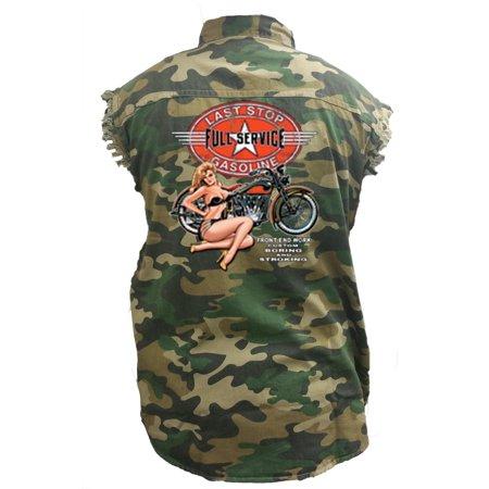 Gasoline Denim (Men's Camo Sleeveless Denim Shirt Last Stop Full Service Gasoline Denim)