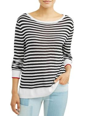 EV1 from Ellen DeGeneres Boat Neck Striped Sweater Women's