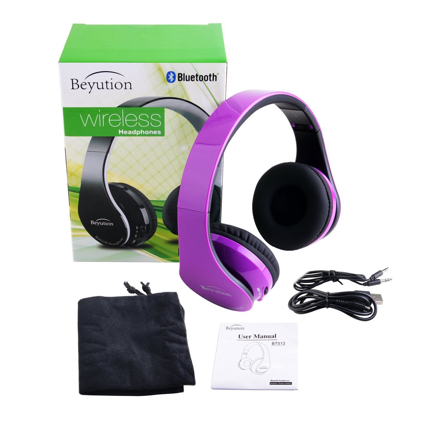 Beyution Wireless Bluetooth Headphones Over-ear HiFi Stereo Headset Built  in Mic-phone Sport Over Head earphones for Android Samsung iPhone