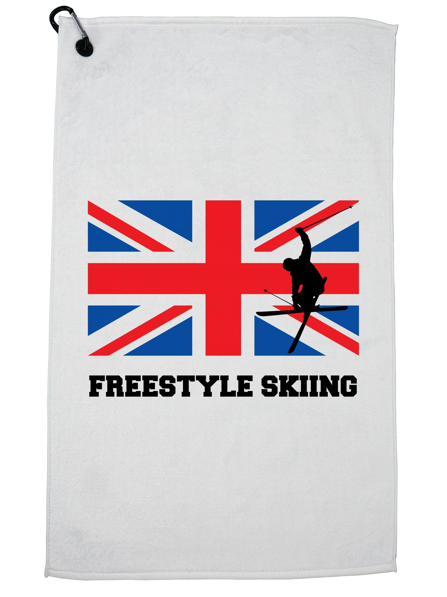 Great Britain Olympic Freestyle Skiing Flag Silhouette Golf Towel with Carabiner Clip by Hollywood Thread