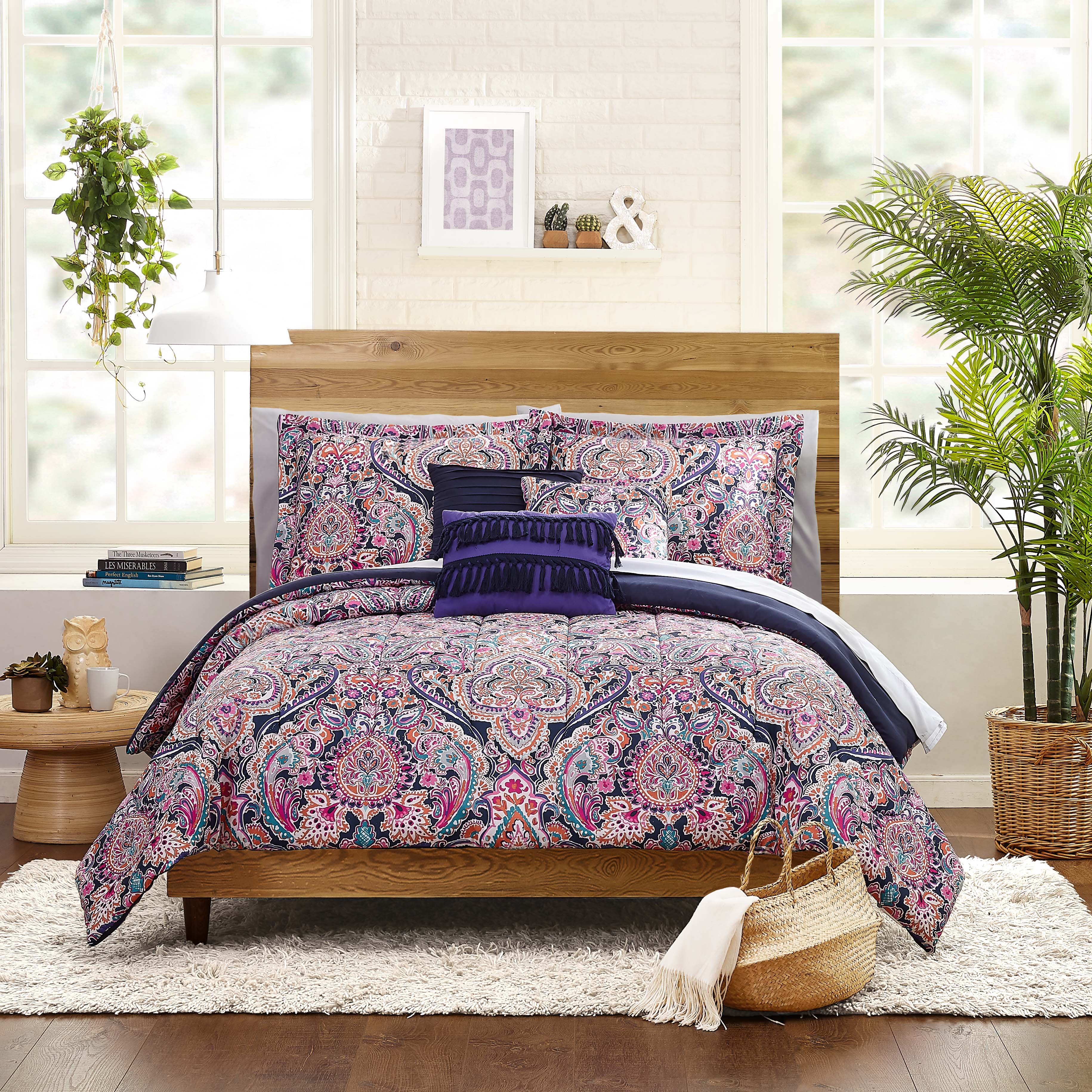 Mainstays Multi Medallion Bed In A Bag Queen Bedding Set Walmart Com Walmart Com