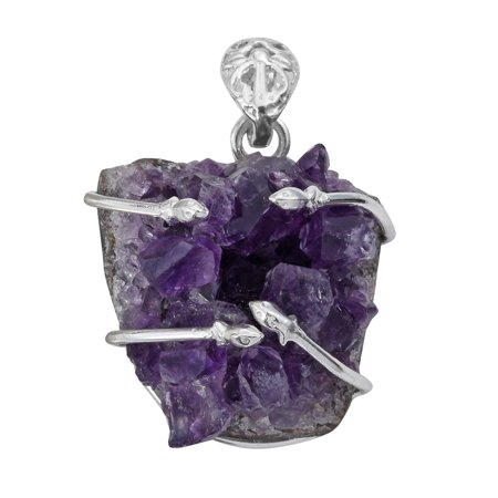 Artisan Crafted Rough Cut Amethyst Sterling Silver Pendant without Chain TGW 68.