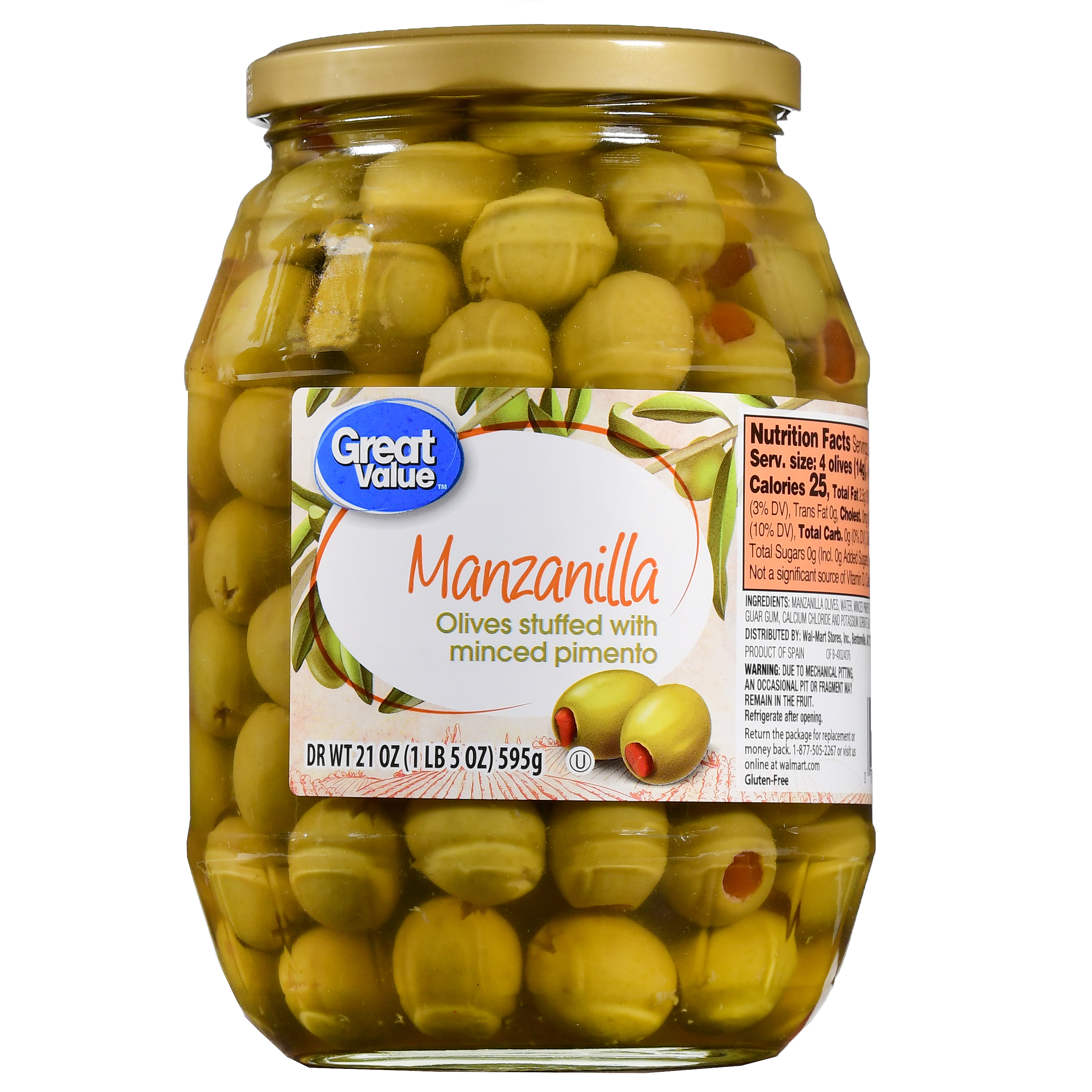 Great Value Manzanilla Olives Stuffed with Minced Pimiento, 21 oz by Wal-Mart Stores, Inc.