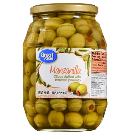 - (2 Pack) Great Value Manzanilla Olives Stuffed with Minced Pimiento, 21 oz