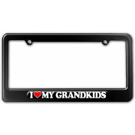 I Love Heart My Grandkids License Plate Tag Frame, Multiple Colors ()