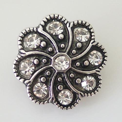 1 PC 18MM Flower Rhinestones Silver Snap Candy Charm KB8083 CC0419