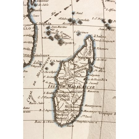 Madagascar And Comoros Islands Circa 1760 From Atlas De Toutes Les Parties Connues Du Globe Terrestre By Cartographer Rigobert Bonne Published Geneva Circa 1760 Canvas Art - Ken Welsh Design Pics (24
