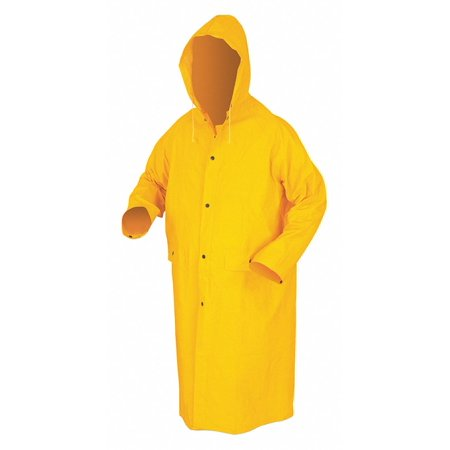 Mcr Safety Raincoat Detachable Hood, Yellow, 2XL 2XL Yellow  PVC 200CX2