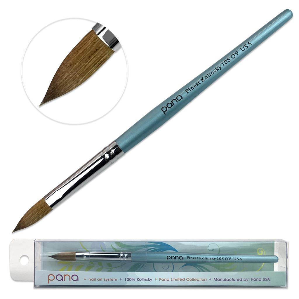 Pana Kolinsky Acrylic Nail Brush with Teal Wood Handle - Size 10