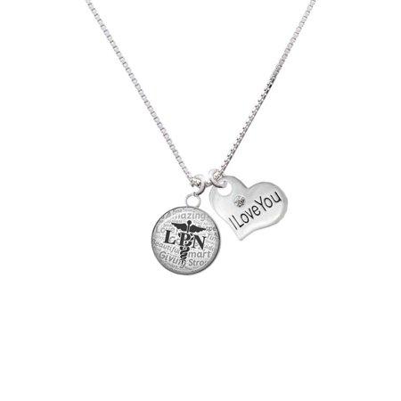 Silvertone Domed Black LPN I Love You Heart Necklace