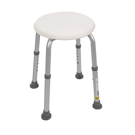 Essential Medical Supply Bath and Shower Stool with Adjustable Legs, white