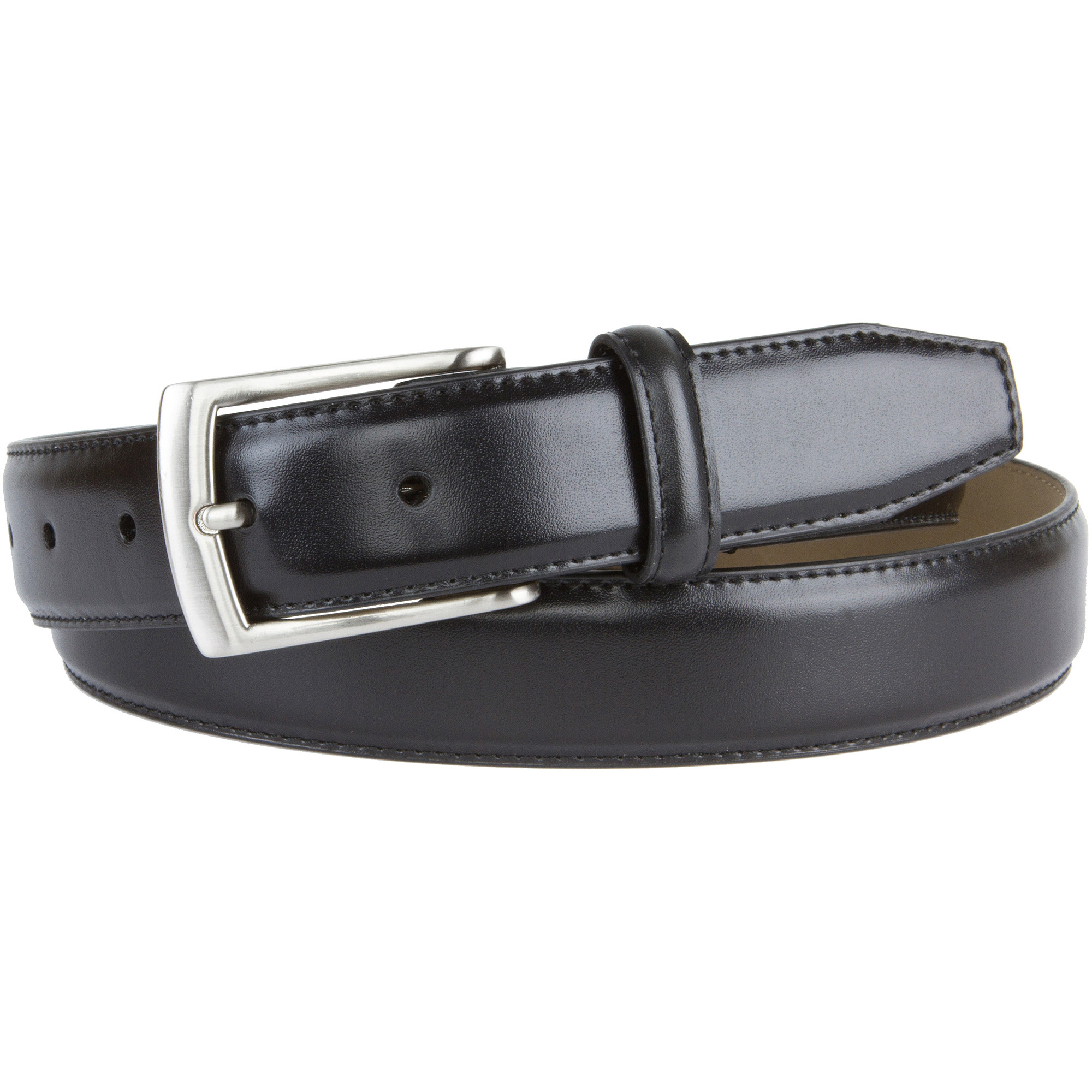 Men's Leather Dress Belt with Buckle Stretch