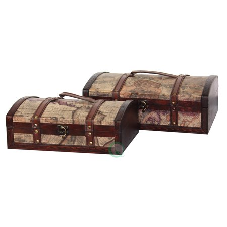 Old World Map Treasure Chest - Set of