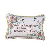 Collections Etc Granddaughter Floral Tapestry Throw Pillow, Gifts for Granddaughter Home Dcor Accent, 12 x 9 inches
